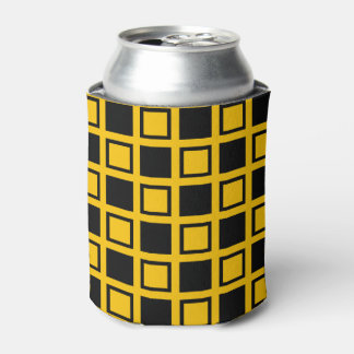 Black and Gold Squares Can Cooler