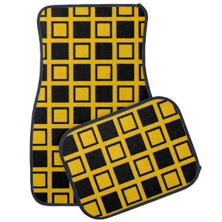 Black and Gold Squares Car Mat