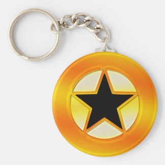 Black and Gold Star Basic Round Button Key Ring