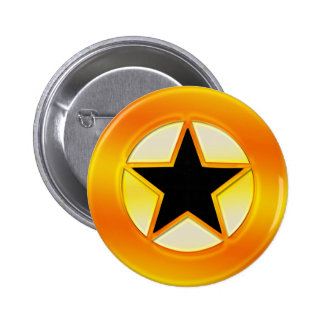 Black and Gold Star Pinback Button