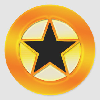 Black and Gold Star Round Sticker