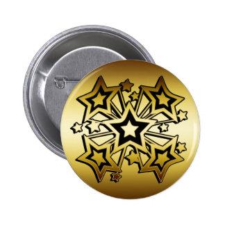 BLACK AND GOLD STARS 6 CM ROUND BADGE