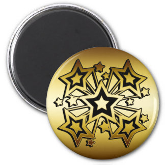 BLACK AND GOLD STARS 6 CM ROUND MAGNET