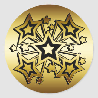 BLACK AND GOLD STARS CLASSIC ROUND STICKER