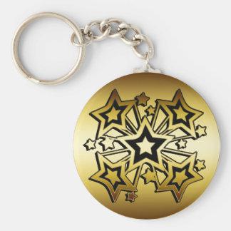 BLACK AND GOLD STARS KEYCHAIN