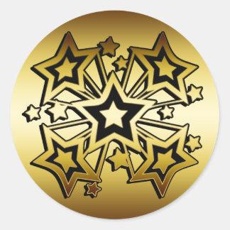 BLACK AND GOLD STARS ROUND STICKER