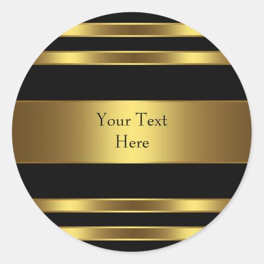 Black and Gold Stripe Classic Round Sticker