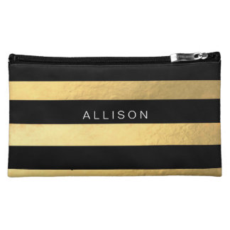 Black and Gold Stripe Personalised Cosmetic Bag