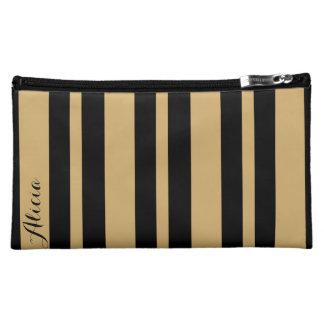 Black and Gold Striped Makeup Bag