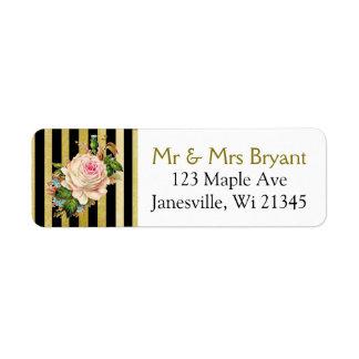 Black and Gold Striped Rose Return Address Label
