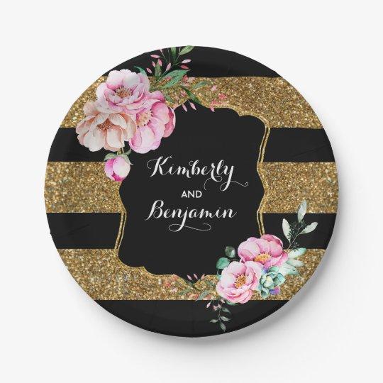 Black and Gold Stripes - Pink Floral Wedding
