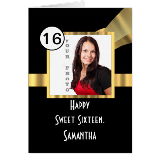 Black and gold sweet sixteen photo card