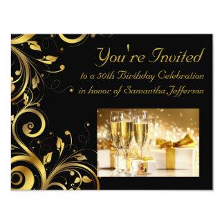 Black and Gold Swirl, Custom 50th Birthday Party 11 Cm X 14 Cm Invitation Card