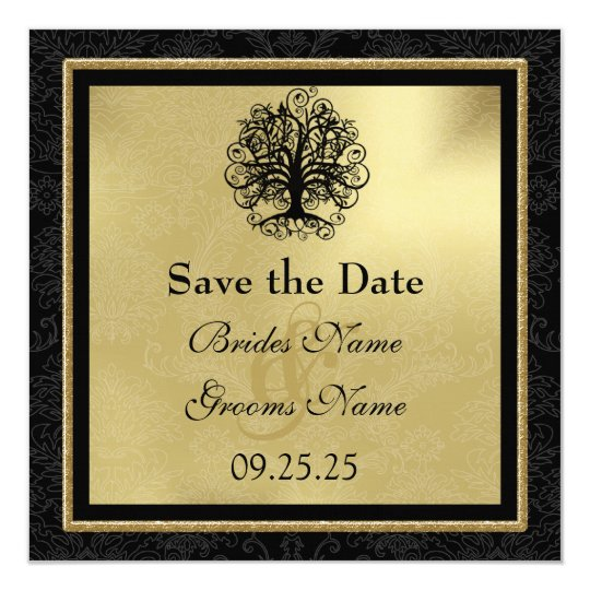 Black and Gold Swirl Love Tree Wedding Save the Da Card
