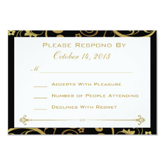 Black and Gold Swirl Reply Card