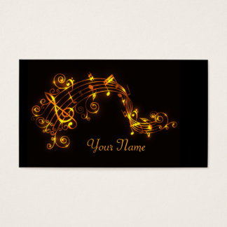 Black and Gold Swirling Musical Notes