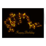 Black and Gold Swirling Musical Notes Birthday Car Card