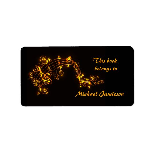 Black and Gold Swirling Musical Notes Bookplates Address