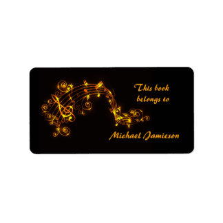 Black and Gold Swirling Musical Notes Bookplates Label