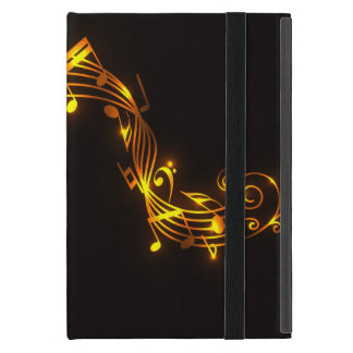 Black and Gold Swirling Musical Notes Case For iPad Mini