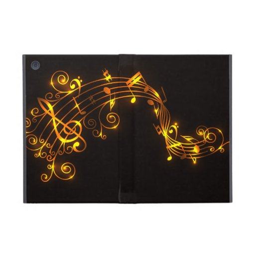 Black and Gold Swirling Musical Notes iPad Mini Cases