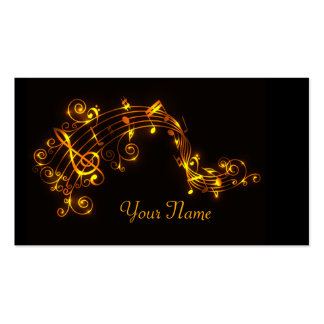 Black and Gold Swirling Musical Notes Pack Of Standard Business Cards