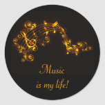 Black and Gold Swirling Musical Notes Round Sticker