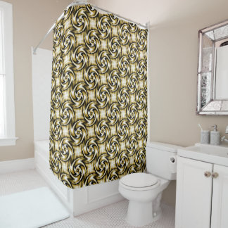 Black and Gold Swirls Shower Curtain