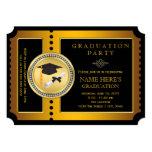 Black and Gold Ticket Graduation Party 13 Cm X 18 Cm Invitation Card