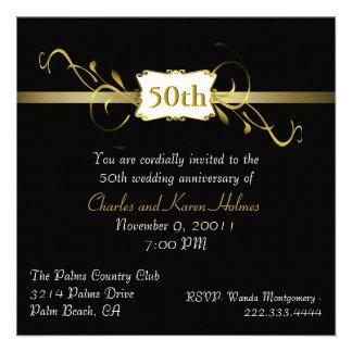 Black and Gold Tone Anniversary Invitation