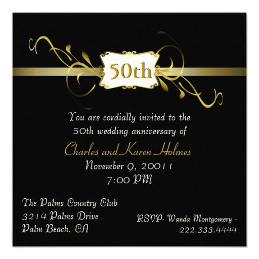 Black and Gold Tone Anniversary Invitation