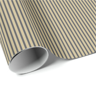 Black and Gold Trendy Christmas Stripes Wrapping Paper