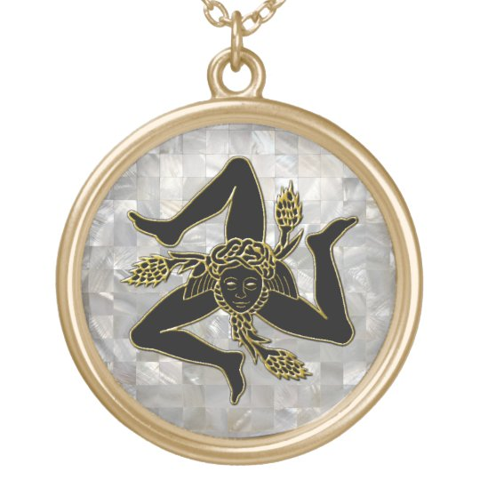 Black and Gold Trinacria Mother of Pearl Pattern