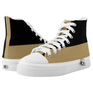 Black and Gold Two-Tone Hi-Top Athletic Shoes Printed Shoes