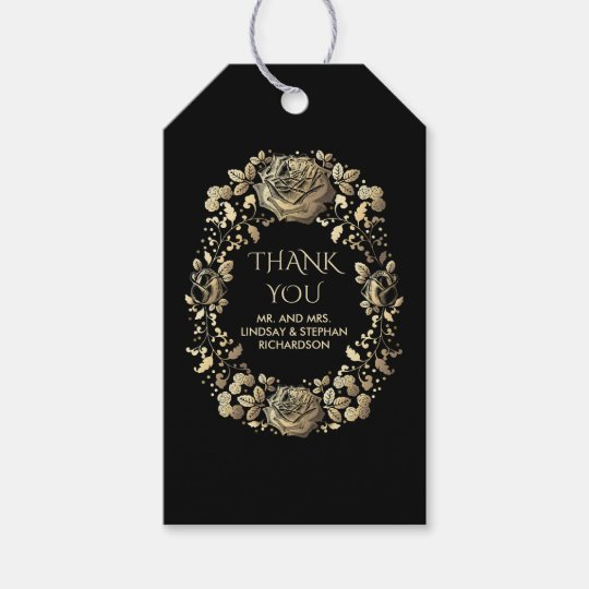 Black and Gold Vintage Chic Wedding Gift Tags