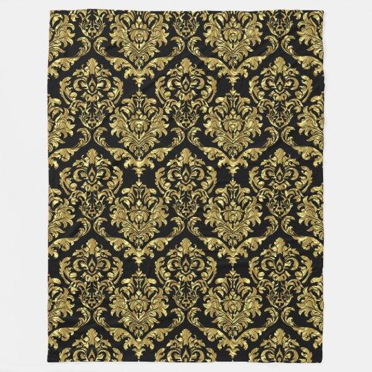 Black And Gold Vintage Floral Damasks Fleece Blanket