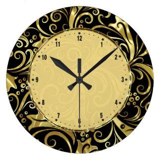 Black And Gold Vintage Floral Damasks Large Clock