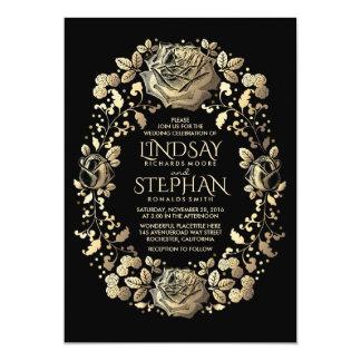 Black and Gold Vintage Floral Wreath Wedding Card