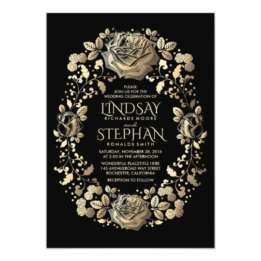 Black and Gold Vintage Floral Wreath Wedding Card