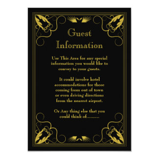 Black and Gold Vintage Guest Information Card 11 Cm X 16 Cm Invitation Card