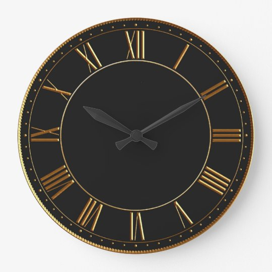 Black And Gold Vintage Roman Numeral Large Clock