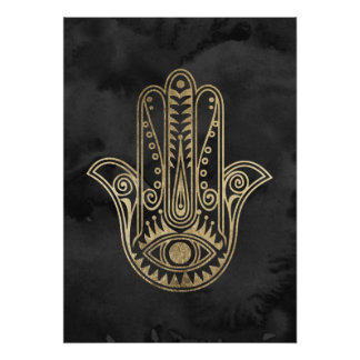 Black and gold watercolor hamsa hand of Fatima Poster