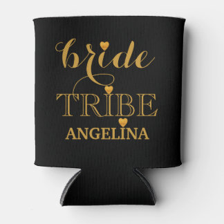 Black and Gold Wedding Bride Tribe Can Cooler