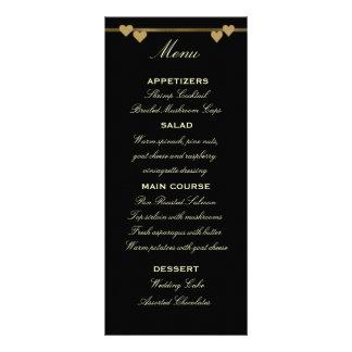 Black and Gold Wedding Menu Template Rack Card Design