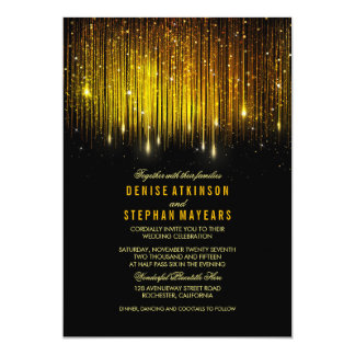 Black and Gold Wedding String Lights Invite