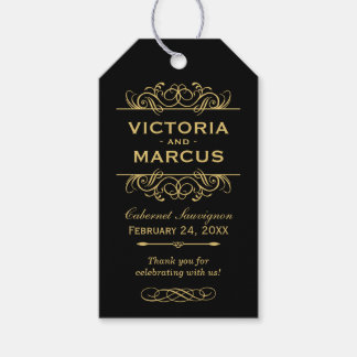 Black and Gold Wedding Wine Bottle Monogram Favor Gift Tags
