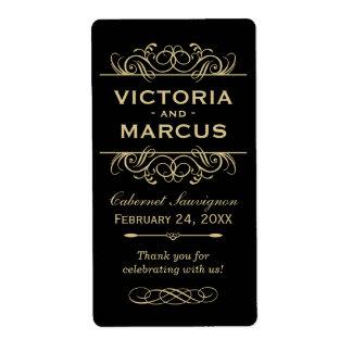 Black and Gold Wedding Wine Bottle Monogram Favour