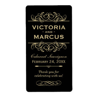 Black and Gold Wedding Wine Bottle Monogram Favour Shipping Label