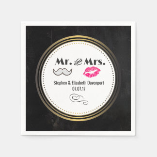 Black and Gold Wedding with Moustache and Lips Disposable Serviettes