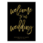 Black And Gold Welcome To Our Wedding Sign